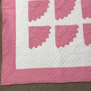 """VINTAGE PINK GIRL QUILT, 80"""" BY 84"""", GUC"""